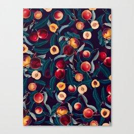 Nectarine and Leaf pattern Canvas Print