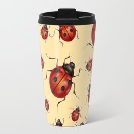 ABSTRACT RED LADY BUGS ON CREAM COLOR DESIGN ART Travel Mug