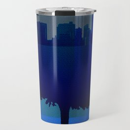 Point of view on the city blue Travel Mug
