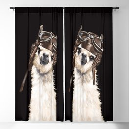 Cool Pilot Llama in Black Blackout Curtain