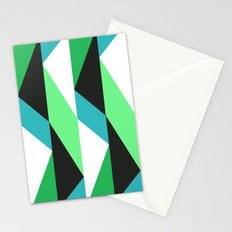 Turquoise, black & green triangles pattern Stationery Cards