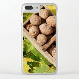 Fall still life italian walnuts fruit in wooden basket Clear iPhone Case