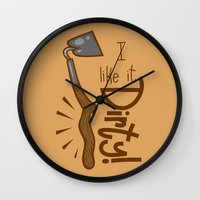 tool Wall Clocks featuring Naughty Farm Tool by Artistic Dyslexia