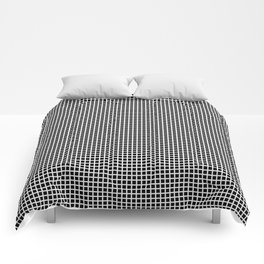 White On Black Grid Comforters