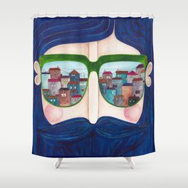 moustache and sunglasses Shower Curtain