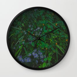 Orange and Purple Flowers Wall Clock