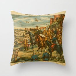 Vintage Print - Illustrations of the Siberian War (1919) - Meeting of the Combined Army in Siberia Throw Pillow