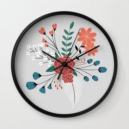 Light Grey-Flower Arrangement Wall Clock