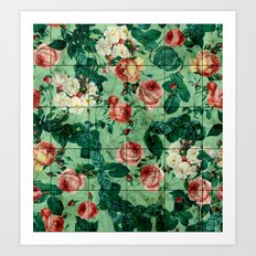Floral and Marble Texture Art Print