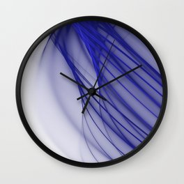 Abstract wave and curved lines illustration blue and white Wall Clock