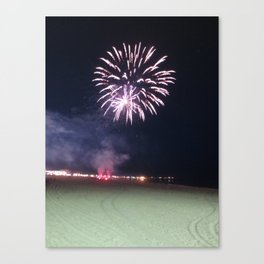 Fireworks by the Ocean Canvas Print