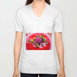 an delicious raspberry pie on an plate Unisex V-Neck