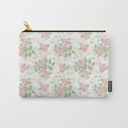 Pink Dogroses on White Carry-All Pouch