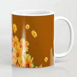 COFFEE BROWN SHOWER GOLDEN FLOWERS Coffee Mug
