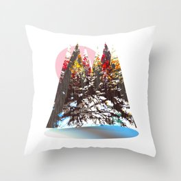 """Trees, Mountains, Flowers, Sun Vector Illustration V2"" Throw Pillow"