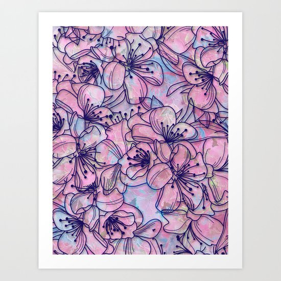 Over and Over Flowers 2 Art Print