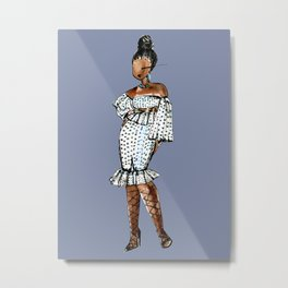 LADY (blue background) Metal Print