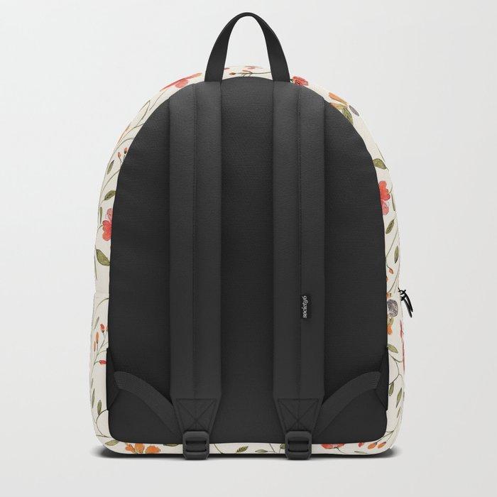 Red and Orange Vintage Floral Pattern Backpack