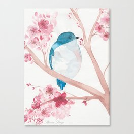 Blue Bird and Blossoms Canvas Print