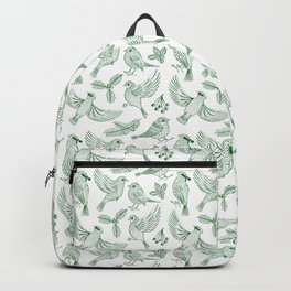 Winter Birds and Foliage Pattern (Green) Backpack