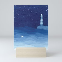 Lighthouse & the paper boat, blue ocean Mini Art Print