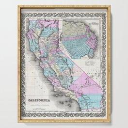 Map of California and San Francisco 1855 Serving Tray