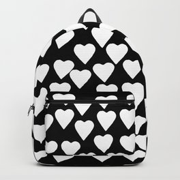 Hearts White on Black Backpack