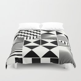Mosaic Black And White Pattern Duvet Cover