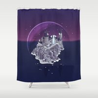 deathly hallows Shower Curtains featuring Hogwarts series (year 7: the Deathly Hallows) by Tanguy Leysen