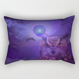 The Owl and the Purple Moon Rectangular Pillow
