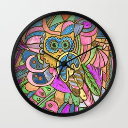 Colorful Pastel Owl Collage Wall Clock