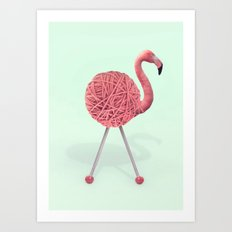 YARN FLAMINGO Art Print