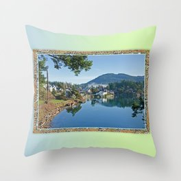 BLUE STILL MORNING SHORELINE Throw Pillow