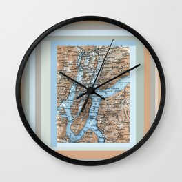 Lugano Italy map, blue terracotta antique vintage Wall Clock