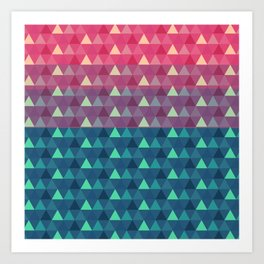 Abstract pink blue geometrical triangles pattern Art Print