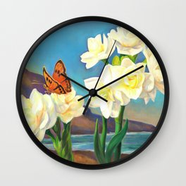 A Morning Greeting From Narcissus Flowers Wall Clock