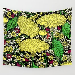 YELLOW & BLACK FLORAL FRIVOLITY FANTASY GARDEN Wall Tapestry