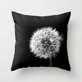 Black and White Dandelion Throw Pillow