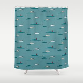 Lobstering in the Harbor Shower Curtain