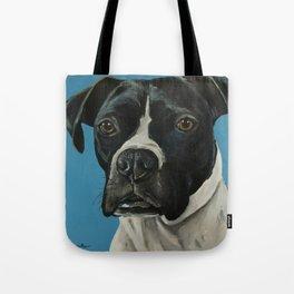 Black Boxer Painting, Blue Boxer Art Tote Bag