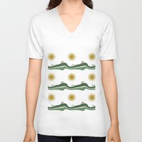 bikes V-neck T-shirts featuring Bikes Pattern by Christina Rollo