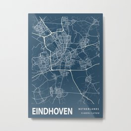 Eindhoven Blueprint Street Map, Eindhoven Colour Map Prints Metal Print