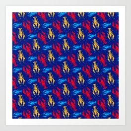 Red Lobster Retro Style Pattern Art Print