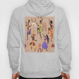 African female dancers. Cartoon aboriginal people dancing folk ritual dance modern vector poster. Hoody