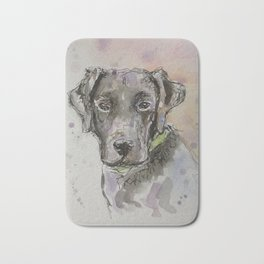 Black Labrador portrait Bath Mat
