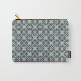 Blue & Coral Geometric Pattern Carry-All Pouch