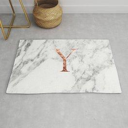 Monogram rose gold marble Y Rug