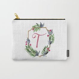 Jungle Gold Monogram Crest T Carry-All Pouch