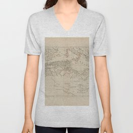 A map of Barbary, containing the Kingdoms of Marocco, Fez, Algier, Tunis and Tripoli, with the adjacent countries Unisex V-Neck