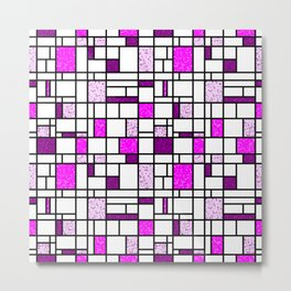 Modern Art Pink and Purple Speckled Grid Pattern Metal Print